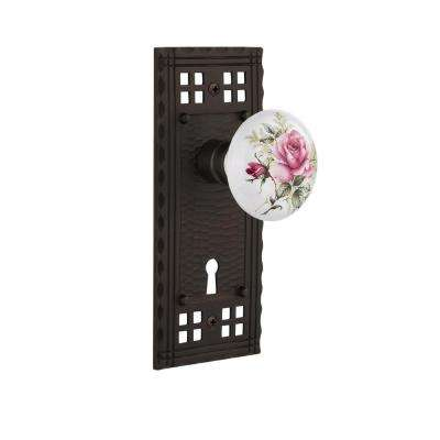 Craftsman Plate with Keyhole Double Dummy White Rose Porcelain Door Knob in Oil-Rubbed Bronze