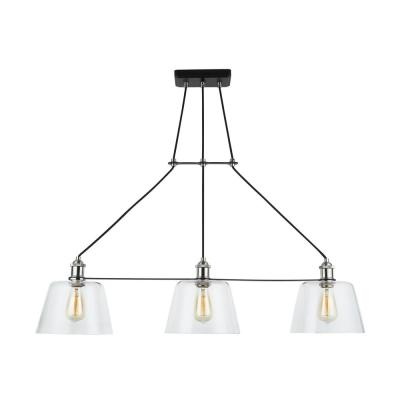 Sherman 3-Light Black Linear Island Pendant with Nickel Accents