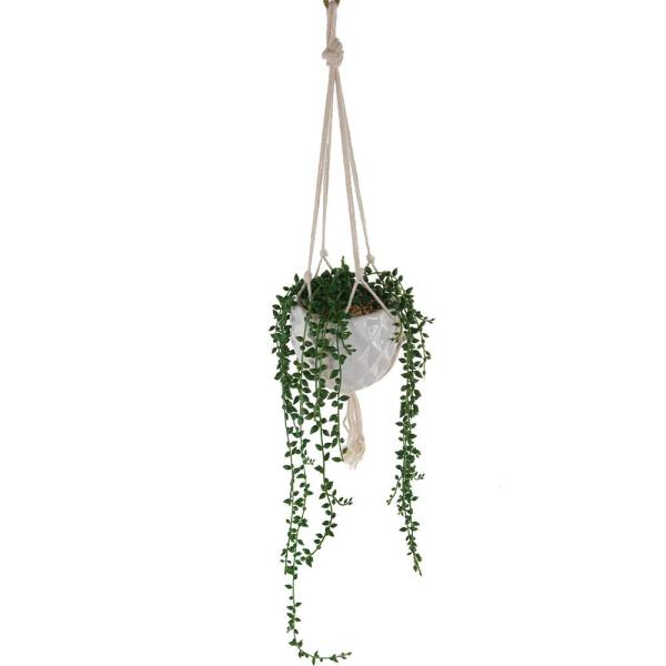 32 in. Artificial String of Pearls in Macrame Hanging Ceramic Planter