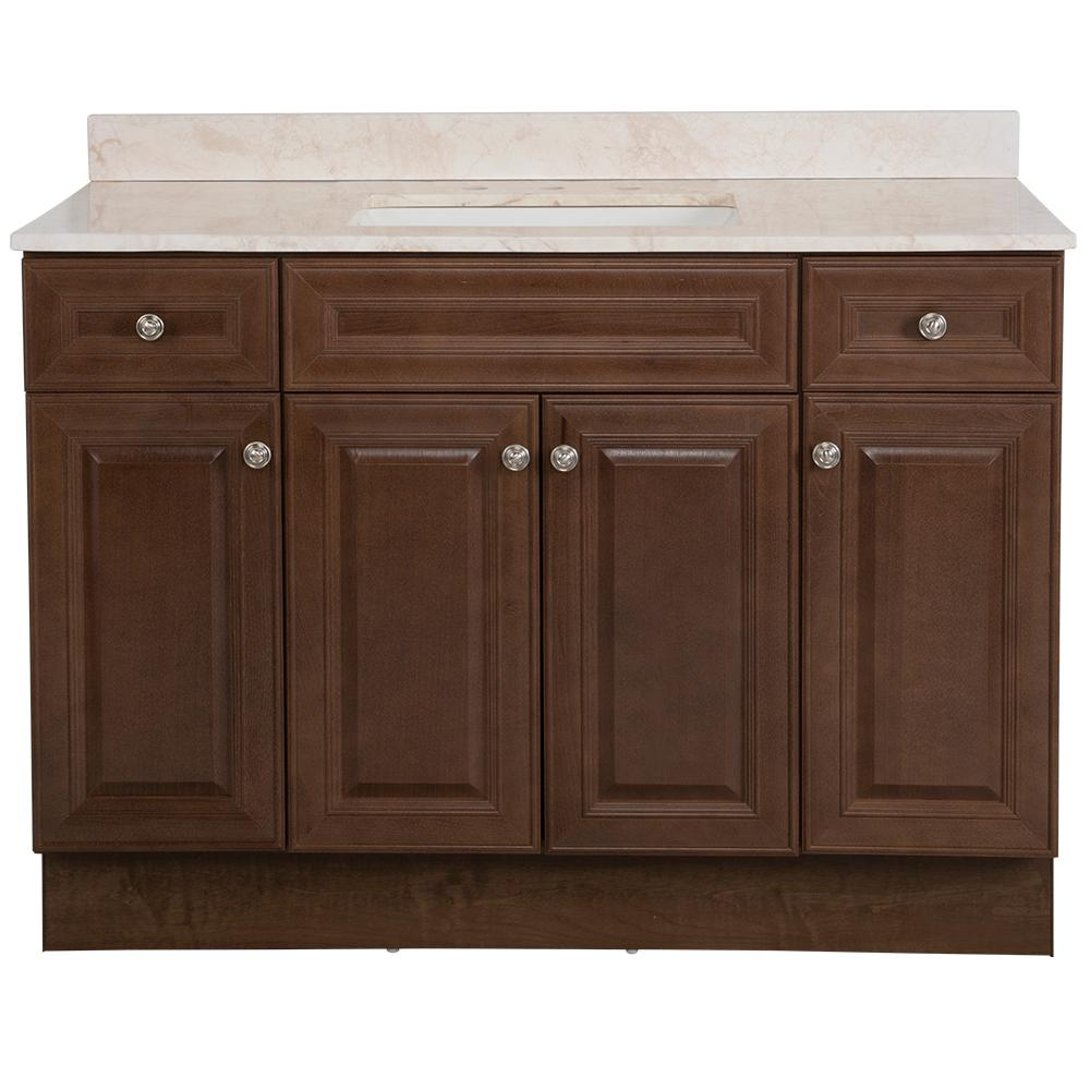 Glacier Bay Glensford 49 in. W x 22 in. D Bathroom Vanity in Butterscotch with Stone Effects Vanity Top in Dune with White Sink