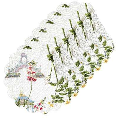 Garden White Folly Round Placemat (Set of 6)