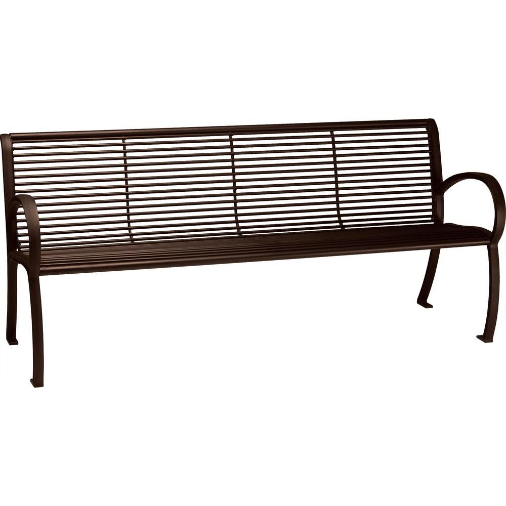 Tranquil 6 ft. Contract Patio Bench with Back in Hazel Nut