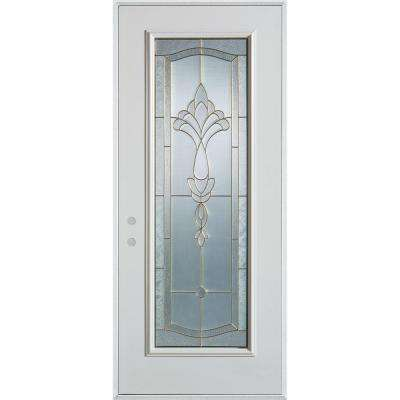 32 in. x 80 in. Traditional Patina Full Lite Painted White Right-Hand Inswing Steel Prehung Front Door