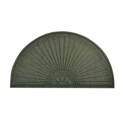Guzzler Sunburst Hunter Green 23 in. x 44 in. Rubber-Backed Entrance Mat