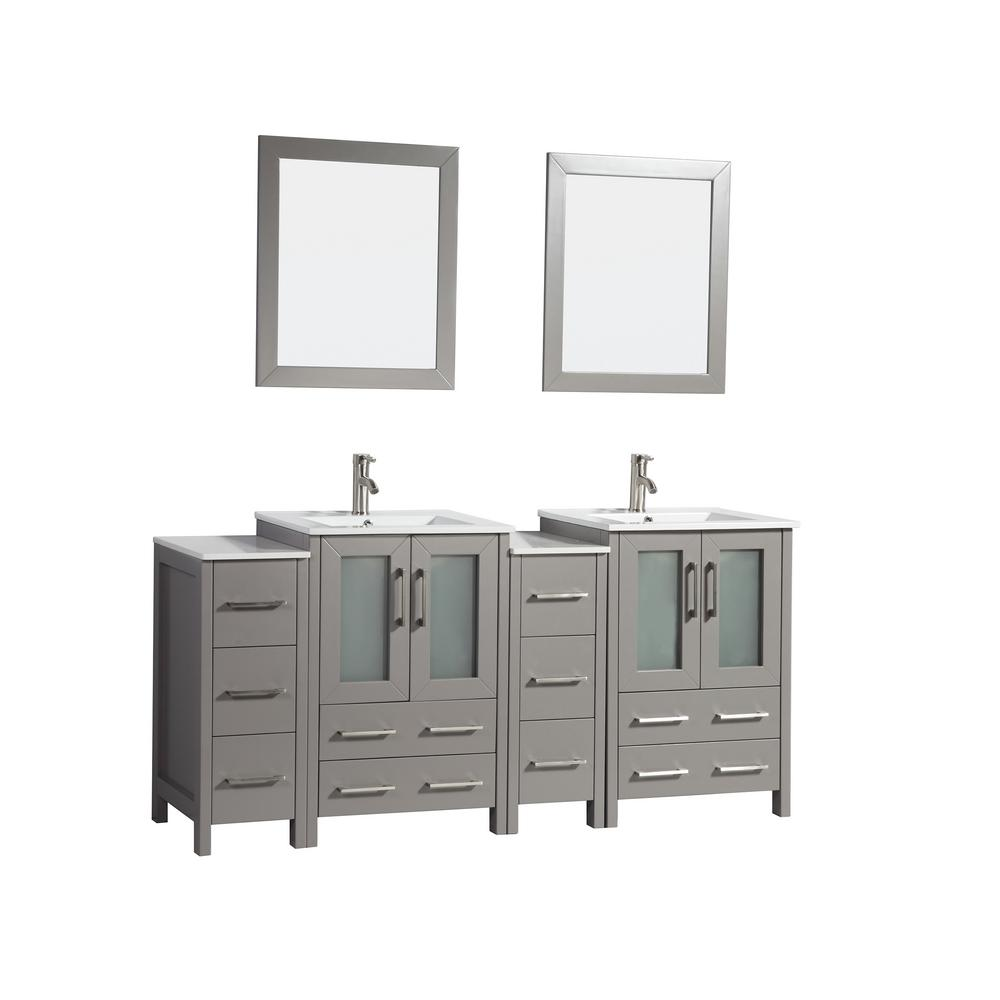 Vanity Art Brescia 72 in. W x 18 in. D x 36 in. H Bath Vanity in Grey with Vanity Top in White with White Basin and Mirror