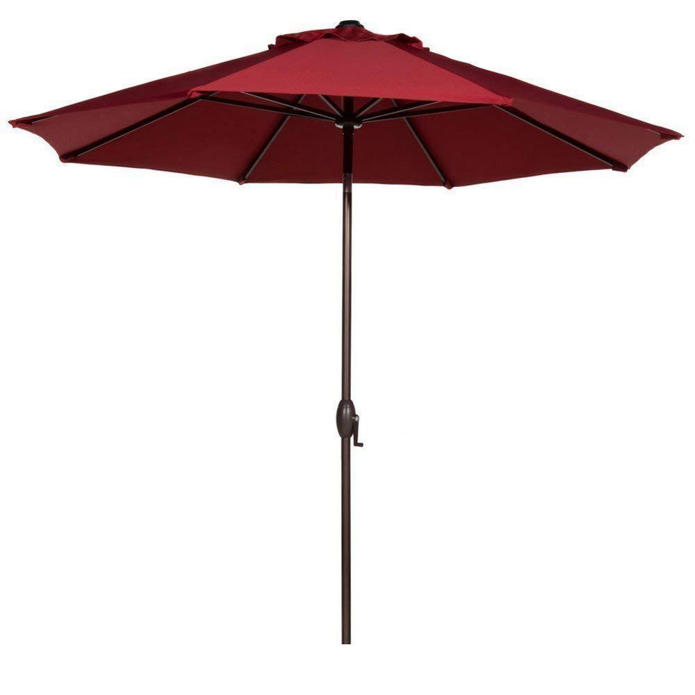 Abba Patio 9 ft. Outdoor Table Market Umbrella with Push Button Tilt and Crank Patio Umbrella in Red