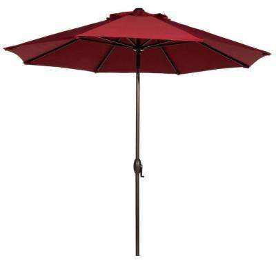 9 ft. Outdoor Table Market Umbrella with Push Button Tilt and Crank Patio Umbrella in Red