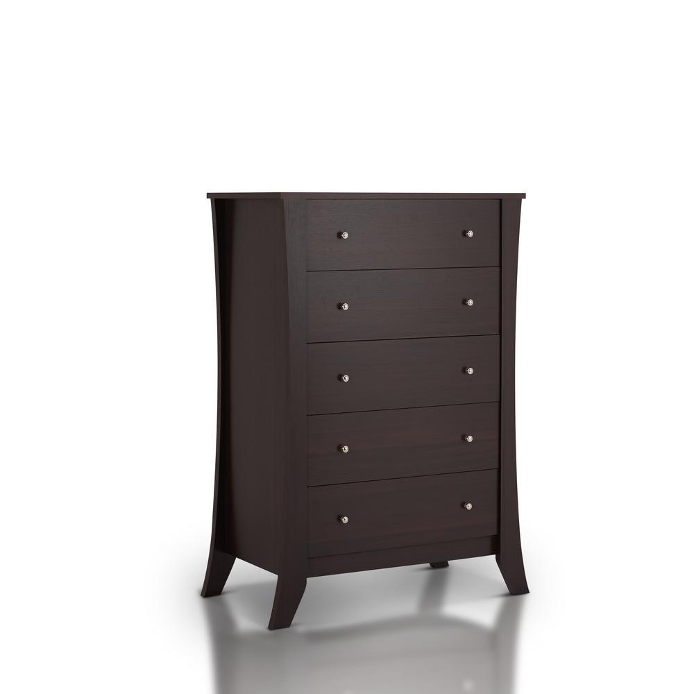Floren 5 Drawer Espresso Dresser Furniture Of America
