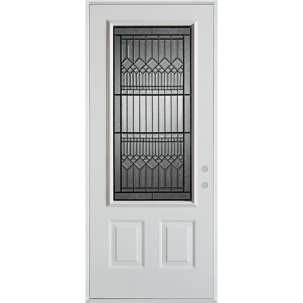 32 in. x 80 in. Lanza Patina 3/4 Lite 2-Panel Painted White Left-Hand Inswing Steel Prehung Front Door