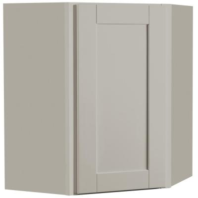 Shaker Assembled 24x30x12 in. Diagonal Corner Wall Kitchen Cabinet in Dove Gray