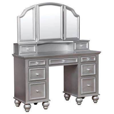 Zulpo 2-Piece Silver Tri-Panel Mirror Vanity Set