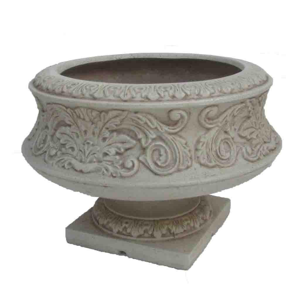 16.25 in. Dia White Cast Stone Ornate Low Urn