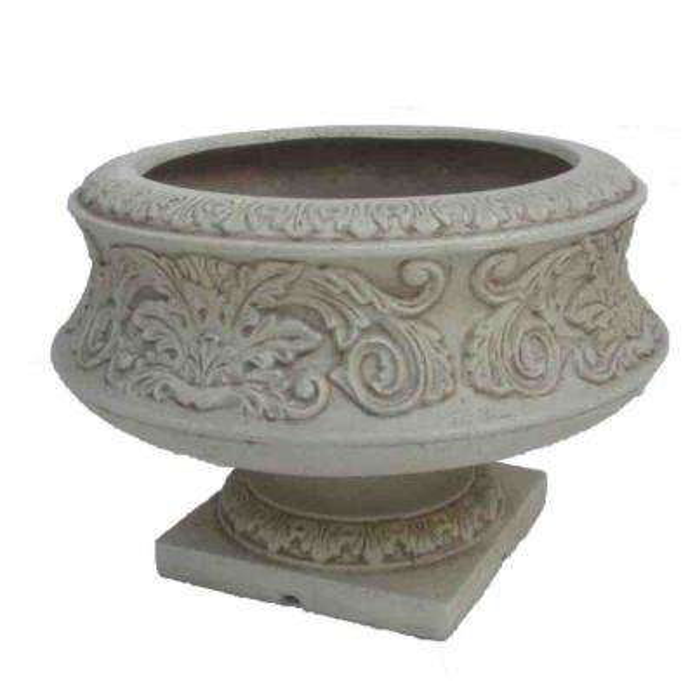 16.25 in. Dia White Cast Stone Ornate Low Urn
