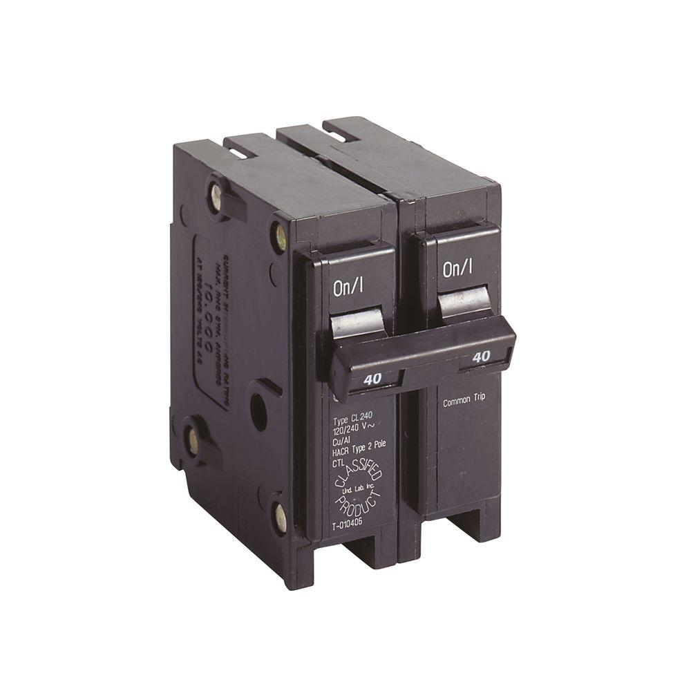 Eaton 40 Amp 1 In Double Pole Type Cl Circuit Breaker