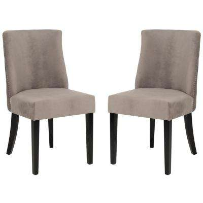Judy Mushroom Taupe Cotton Side Chair (Set of 2)