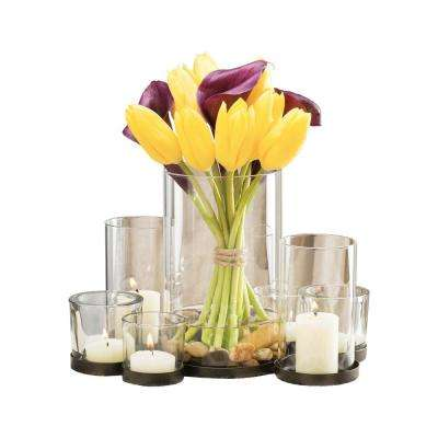 Classique 7 in. x 10 in. Rustic Iron and Clear glass Centerpiece Candle Holder