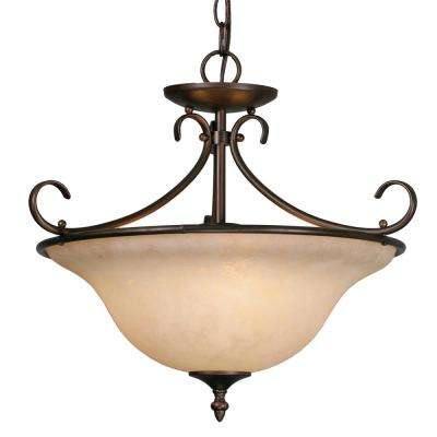Homestead Collection 3-Light Rubbed Bronze Semi-Flush Mount Light