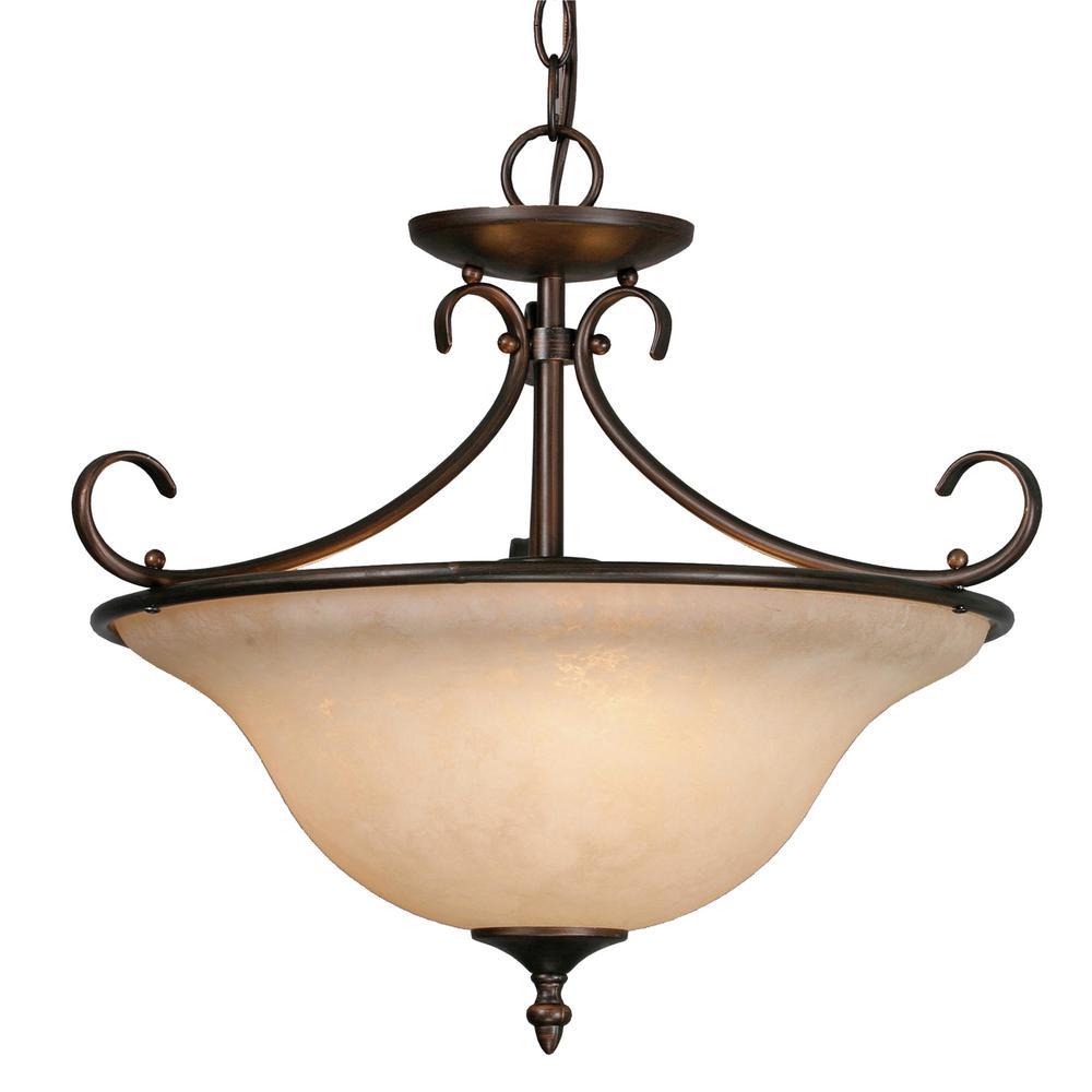 Homestead Collection 3-Light Rubbed Bronze Semi-Flush Mount Light
