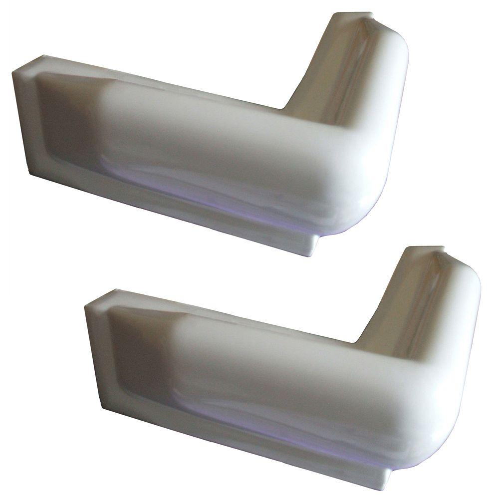 10 in. x 10 in. PVC Dock Corner Bumpers, White (2-Pack)