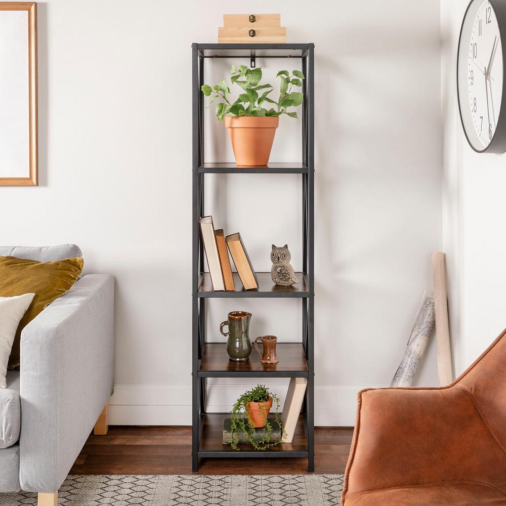 61 in. Dark Walnut/Black Metal 4-shelf Etagere Bookcase with Open Back