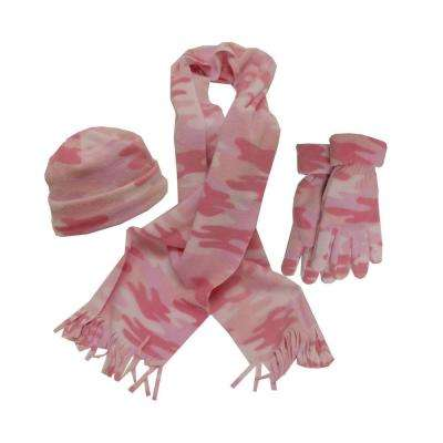 Ladies Pink Camo Set Glove/Scarf/Hat