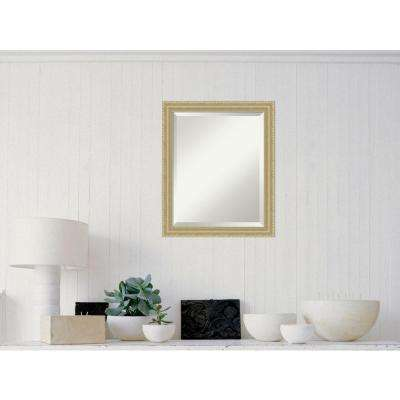 Champagne Teardrop Wood 19 in. x 23 in. Traditional Framed Mirror