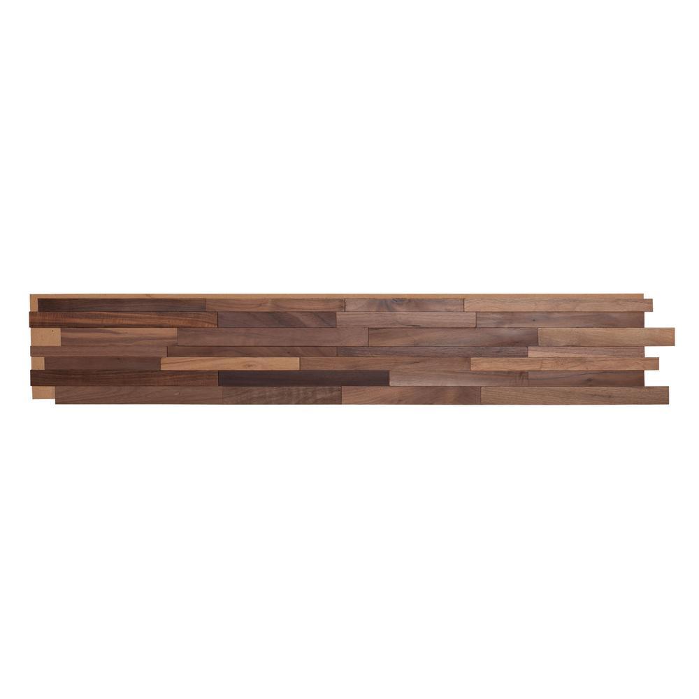 1/2 in. x 7-7/8 in. x 47-1/4 in. Black Walnut 3D Solid Hardwood Interlocking Wall Plank