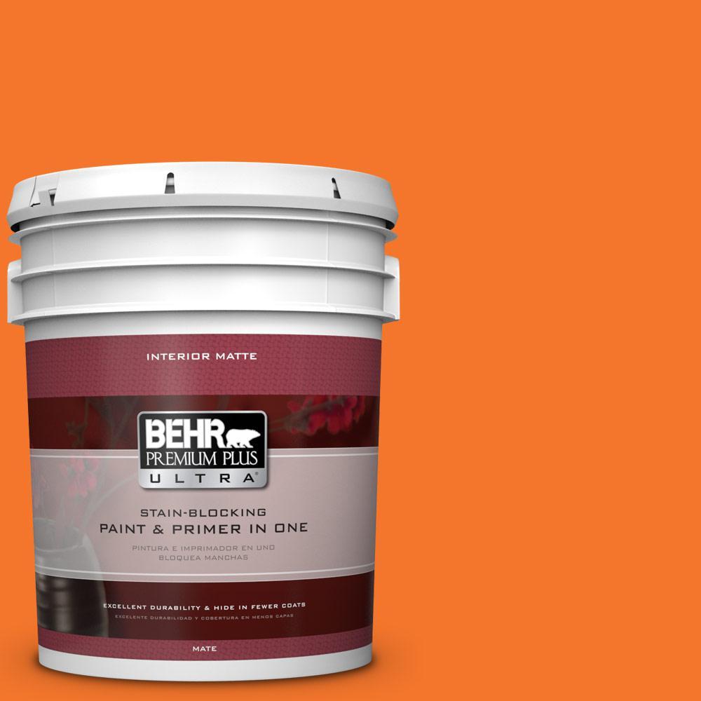 BEHR Premium Plus Ultra 5 gal. #230B-7 Kumquat Matte Interior Paint and Primer in One