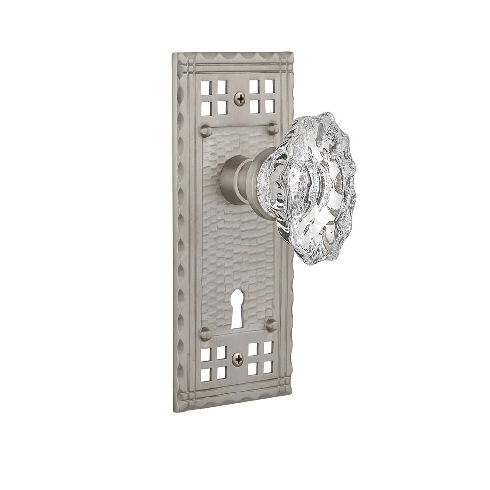Craftsman Plate with Keyhole 2-3/4 in. Backset Satin Nickel Privacy Chateau Door Knob