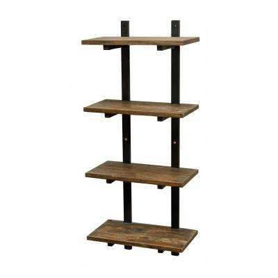 "Pomona 10"" D x 20"" W x 48"" H Natural Metal and Solid Wood Wall Shelf"