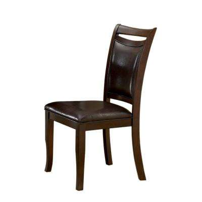 Surna Espresso Leather Dining Chair (Set of 2)