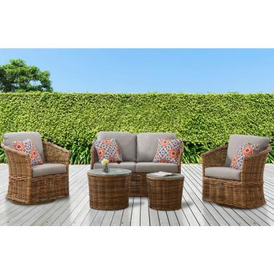 Lexi 5-Piece Wicker Patio Conversation Deep Seating Set with Gray Cushions