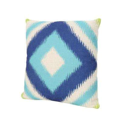 Victoria Blue and Teal Square Outdoor Throw Pillow