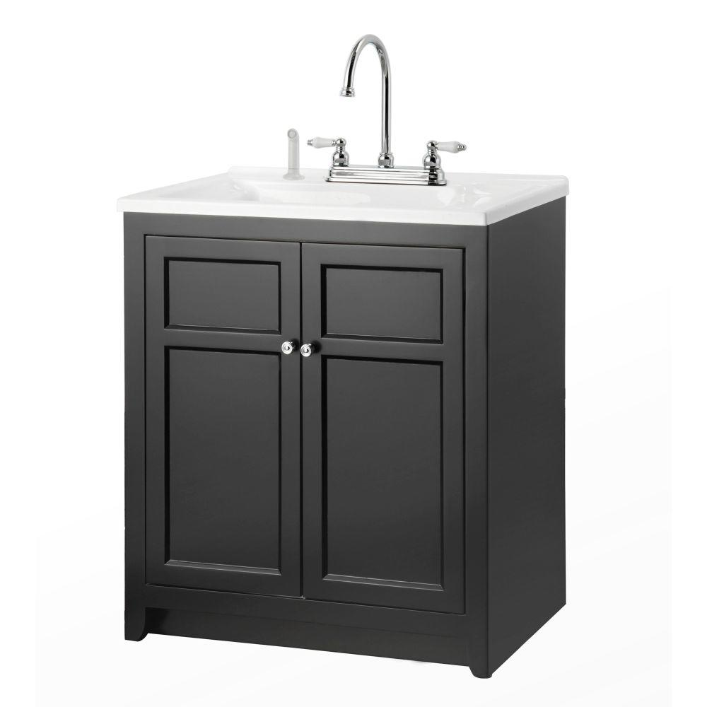 Foremost Conyer 30 in. Laundry Vanity in Black and Premium Acrylic Sink and Faucet Kit
