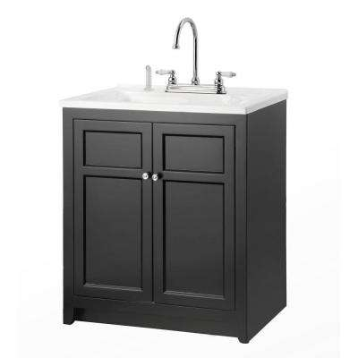 Conyer 30 in. Laundry Vanity in Black and Premium Acrylic Sink and Faucet Kit