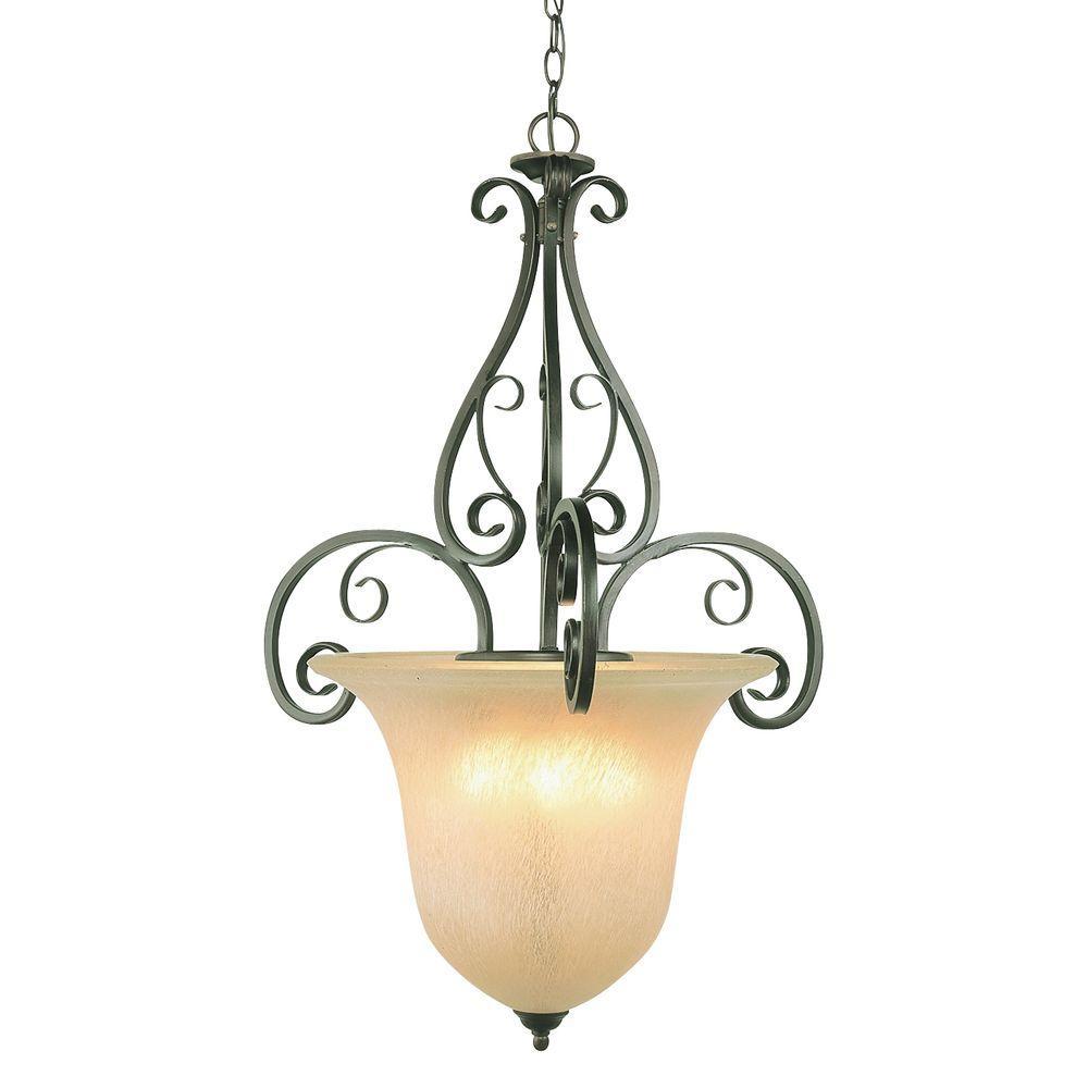 Bel Air Lighting Cabernet 3-Light Antique Brown Rust Incandescent Ceiling Pendant