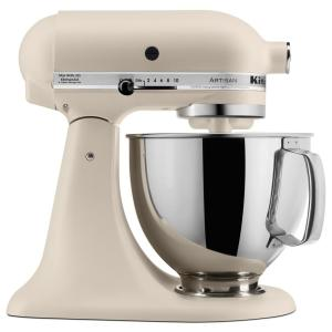 Artisan 5 Qt. 10-Speed Matte Fresh Linen Stand Mixer with Flat Beater, Wire  Whip and Dough Hook Attachments
