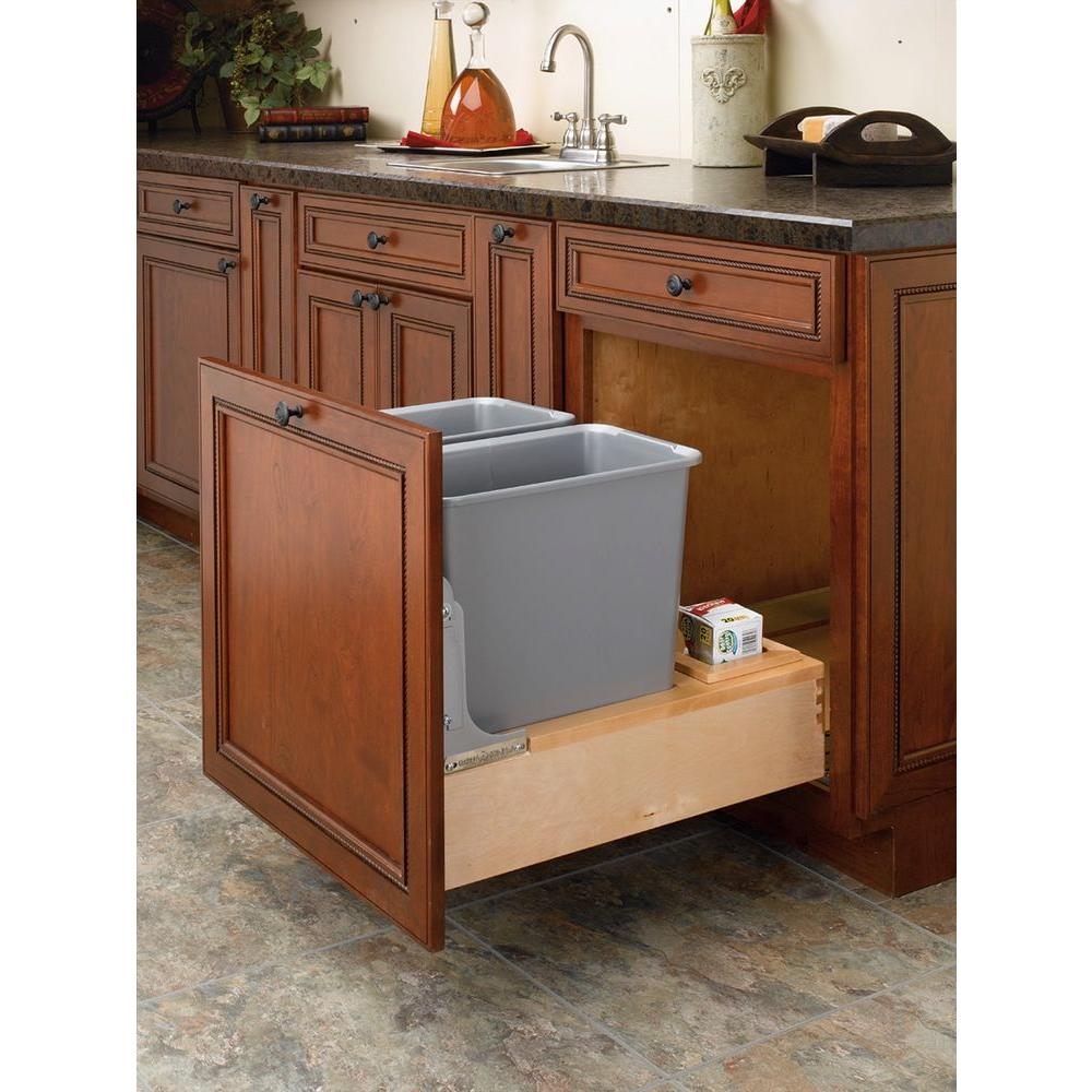 Rev-A-Shelf 19.62 in. H x 21 in. W x 21.875 in. D Double Pull-Out Bottom  Mount Wood and Silver Waste Containers with Soft-Close