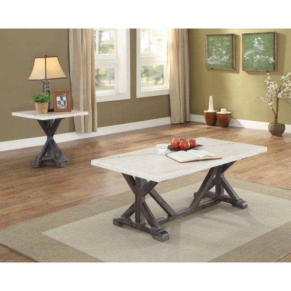 Venetian Worldwide Romina White Marble and Weathered Espresso Coffee Table