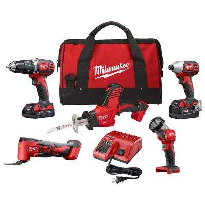 M18 18-Volt Lithium-Ion Cordless Combo Kit (5-Tool) with One 3.0 Ah and One 1.5 Ah Battery, 1 Charger, 1 Tool Bag