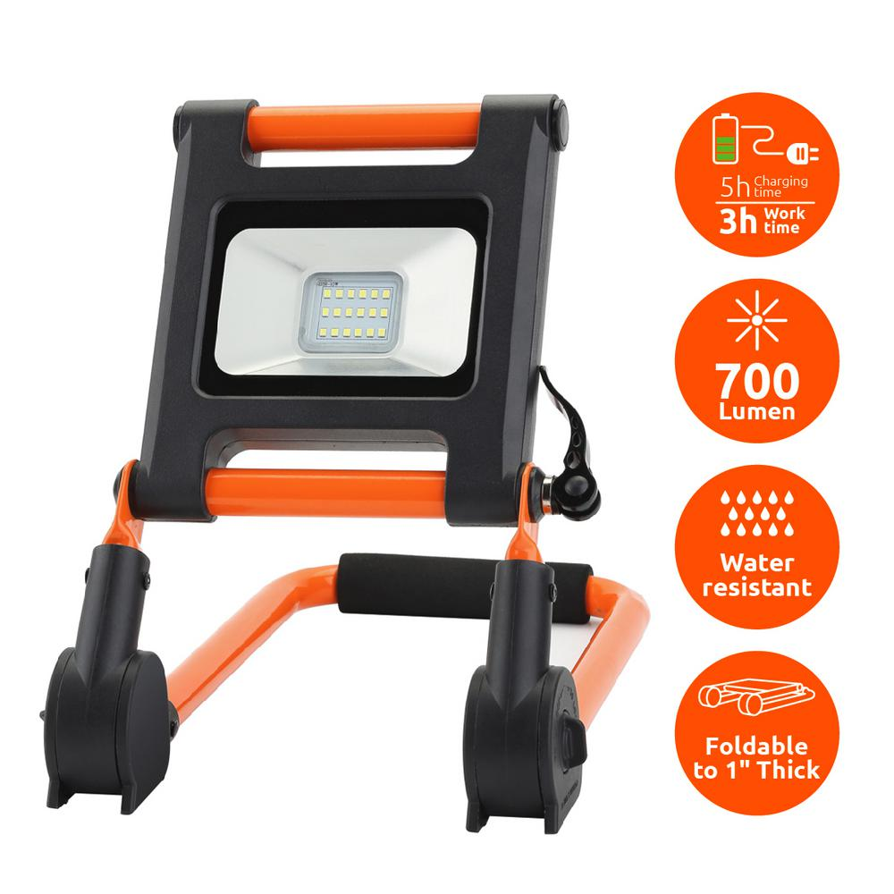 Link2Home 700 Lumen Portable Rechargeable LED 6500K Worklight With  Adjustable Frame