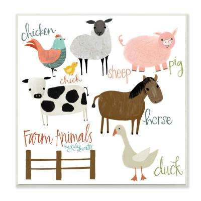 "12 in. x 12 in. ""Cow Pig Sheep Horse Chicken and Duck Farm Animal with Hand Lettering"" by Katie Doucette Wood Wall Art"