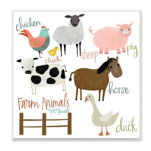 The Kids Room By Stupell 12 In X 12 In Cow Pig Sheep Horse Chicken And Duck Farm Animal With Hand Lettering By Katie Doucette Wood Wall Art Brp 2318 Wd 12x12 The Home Depot