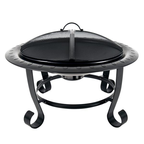 Providence 30 in. x 20 in. Round Steel Wood Burning Fire Pit in Black with Poker