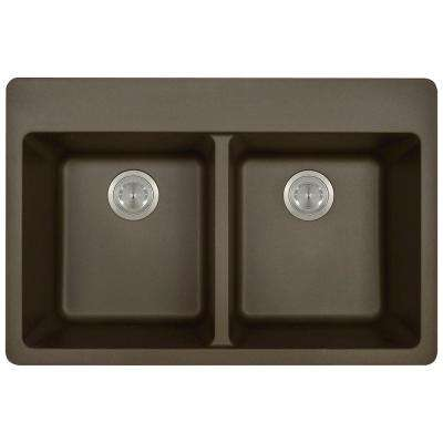 Drop-in Granite Composite 33 in. 4-Hole Equal Double Bowl Kitchen Sink in Mocha