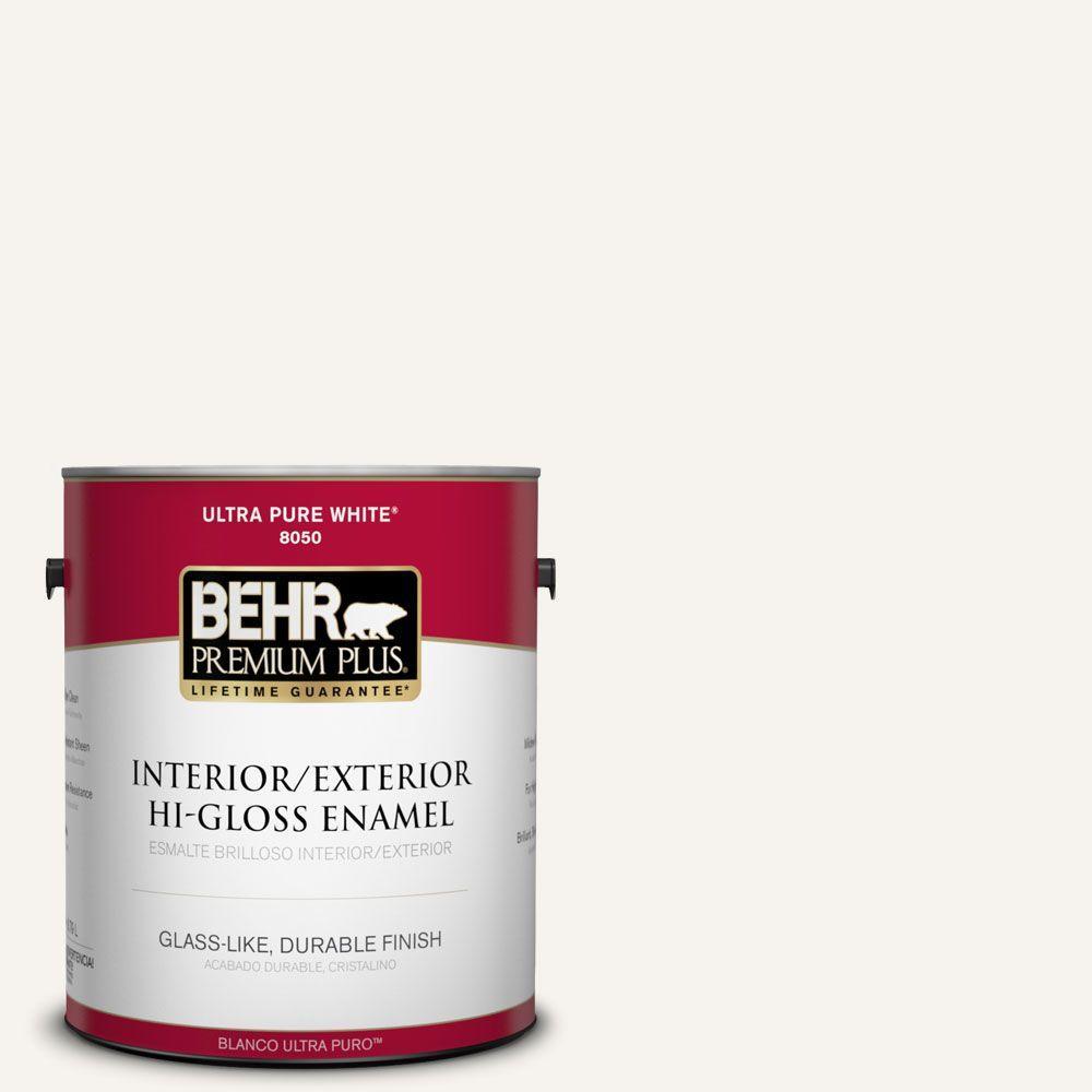 BEHR Premium Plus 1 gal. #75 Polar Bear Hi-Gloss Enamel Interior/Exterior Paint