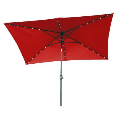 10 ft. x 6.5 ft. Rectangular Solar Powered LED Lighted Patio Umbrella in Red
