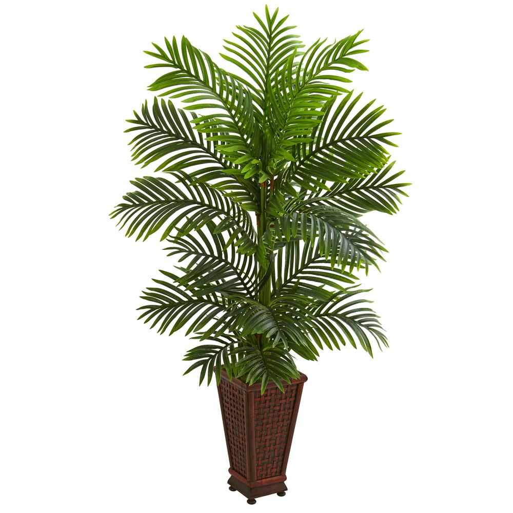 Indoor 5 ft. Kentia Palm Artificial Tree in Decorative Planter