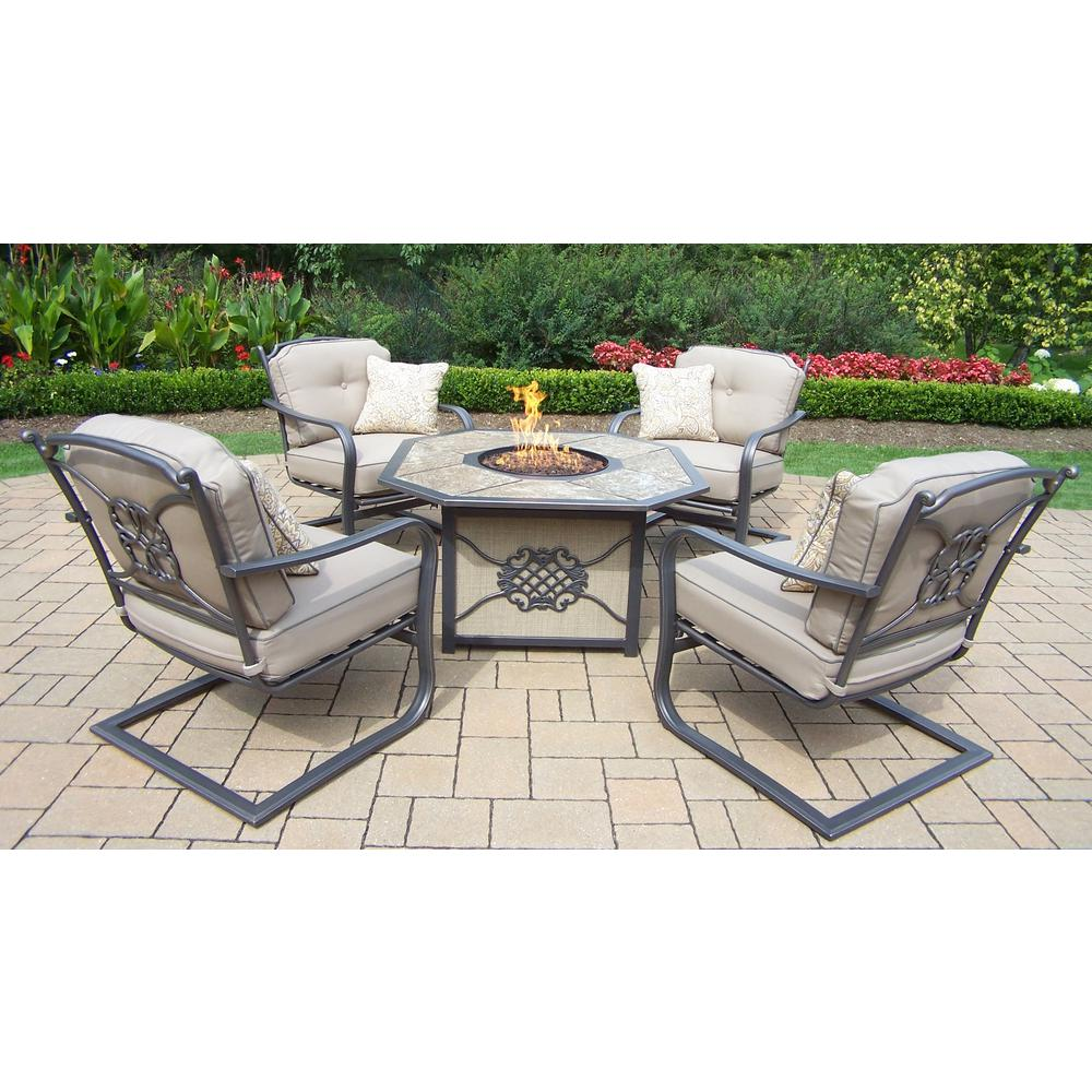 5-Piece Chat Set with Gas Firepit, Top, Burner system, Red Lava