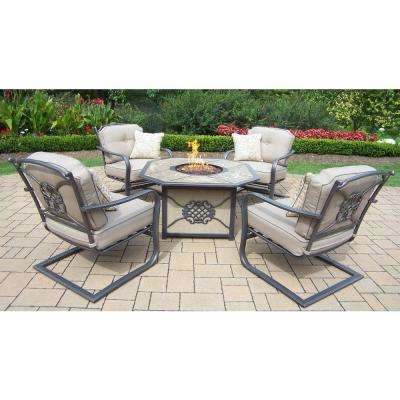 5-Piece Chat Set with Gas Firepit, Top, Burner system, Red Lava Rocks and 4 Spring Chairs, Cushions and Pillows
